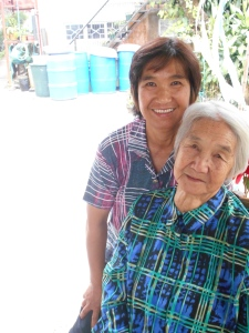Auntie Olive and Lola Carmen pictured on Christmas Day in Acop last year.