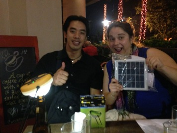 Romer from Solar Lights Philippines our local distributer. We met in Manila on Wednesday to get lights for the Peace Coprs Demo.