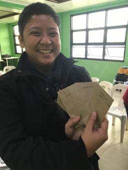 Program Manager Karen with seeds.